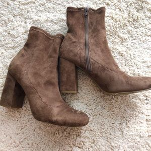 MIA chocolate brown suede booties